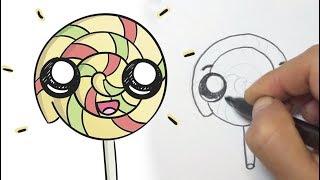 Cómo dibujar una paleta de remolino kawaii