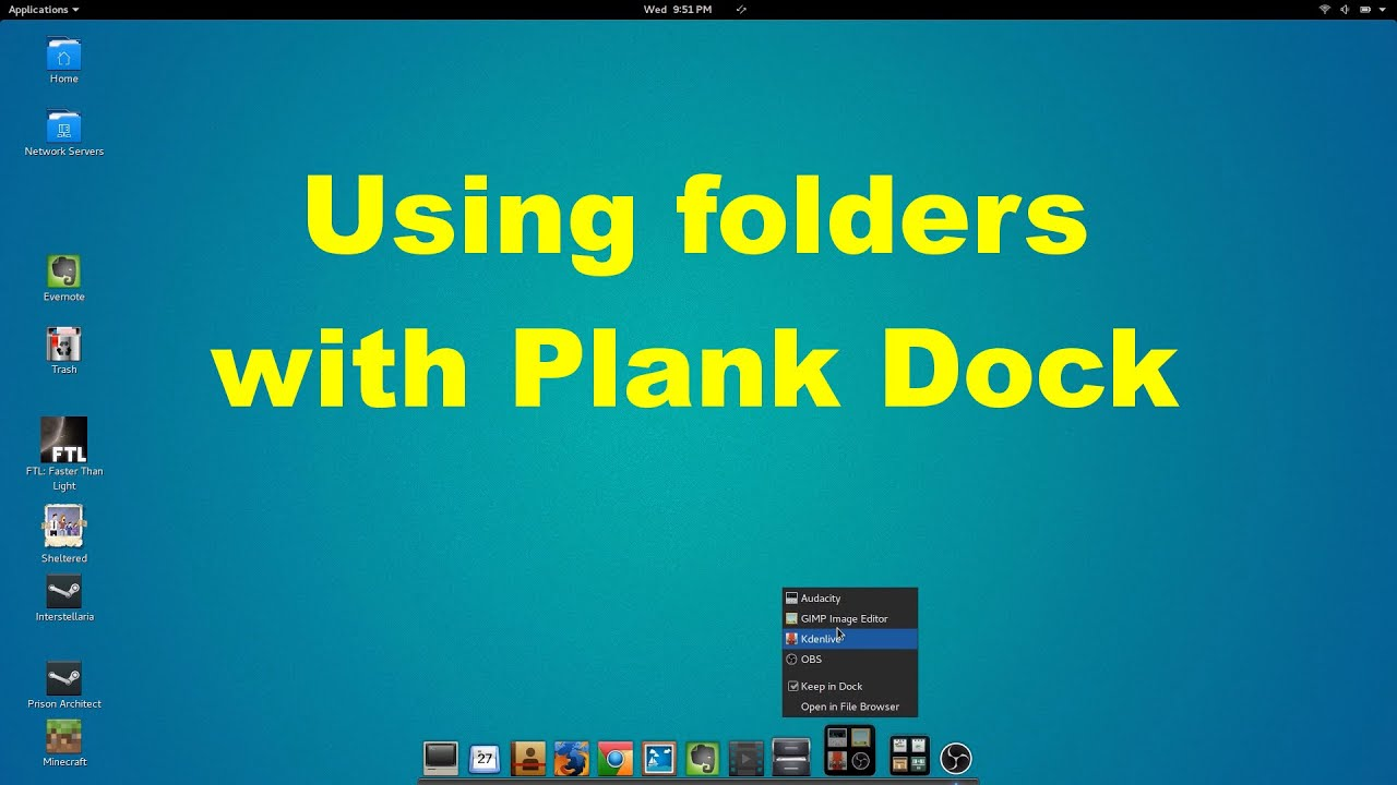 Using folders with Plank Dock in Linux