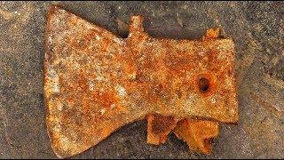 Restoration the old ax | Antique construction tools | Restore metal ax