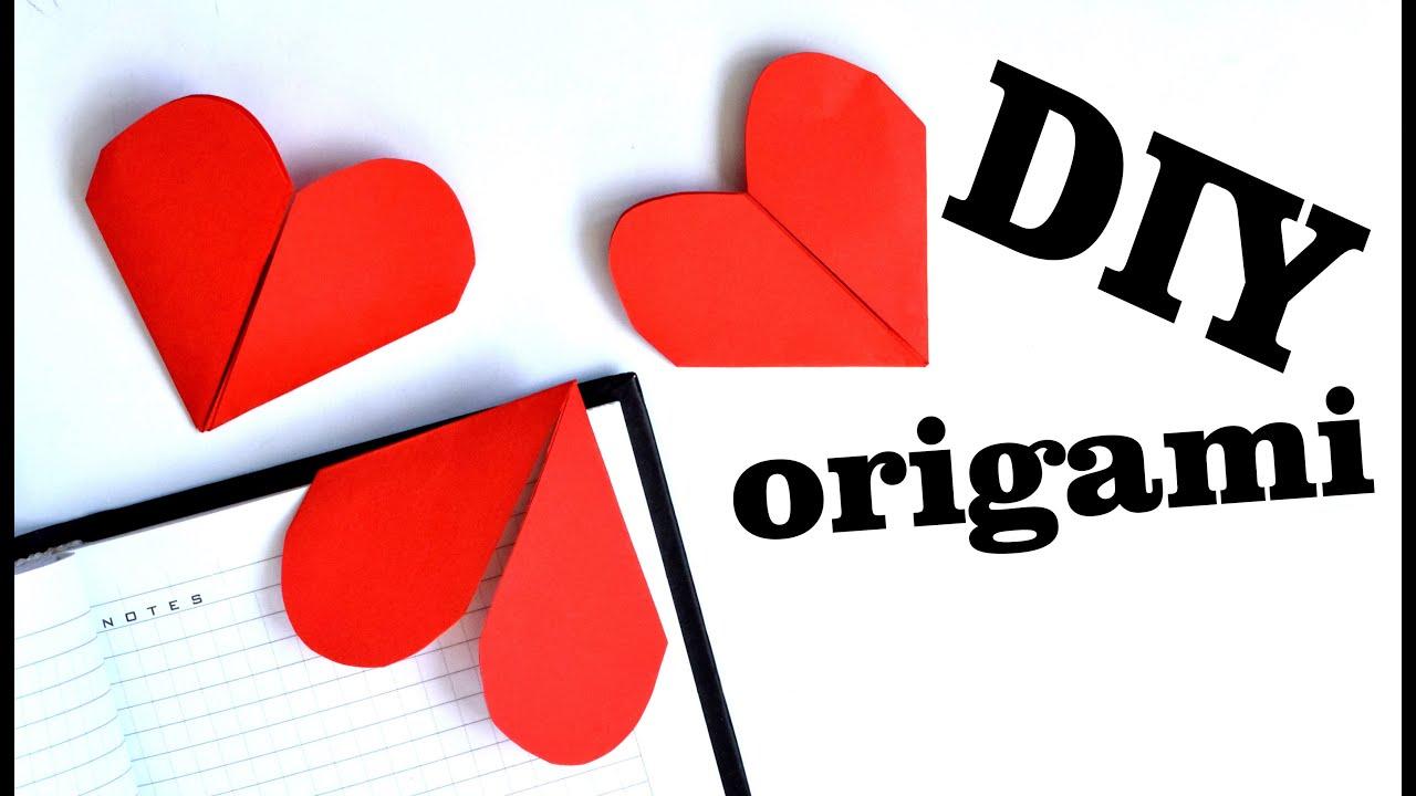 diy bookmarks paper hearts youtube. Black Bedroom Furniture Sets. Home Design Ideas