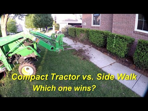 Watch It Bounce!Removing Concrete Patio and Sidewalk with Compact Tractor & Pallet Forks
