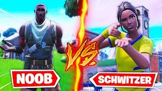 NOOB SKIN vs SCHWITZER SKIN dans Fortnite Battle Royale