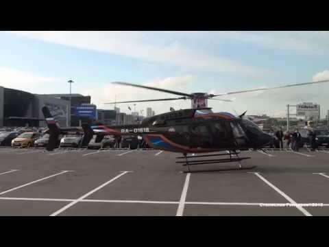 Bell 407GX RA-01618 Запуск взлет Крокус-Экспо HeliRussia 2015