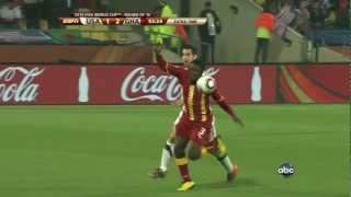 This cracker of goal in extra time lifted ghana to the quarterfinals 2010 world cup. gyan fights off bump from carlos bocanegra and hammers sh...