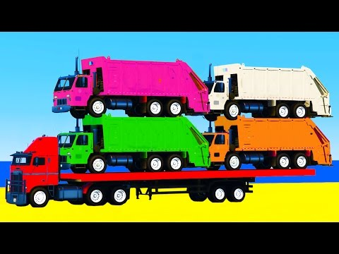 Thumbnail: Garbage Truck & Learn Colors in Spiderman Cartoon for Kids w Color Cars for Kids - Nursery Rhymes