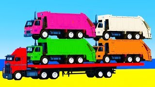 Garbage Truck & Learn Colors in Spiderman Cartoon for Kids w Color Cars for Kids - Nursery Rhymes