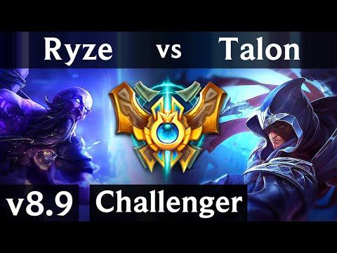 RYZE vs TALON (MID) ~ KDA 12/1/7, Godlike ~ NA Challenger ~ Patch 8.9