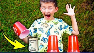 Priceless Moment Kid Guesses Cup To Win Money...