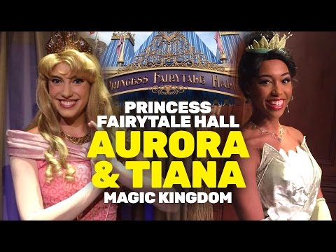 Princess Tiana and Aurora return to Princess Fairytale Hall at Magic Kingdom