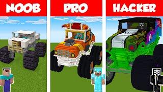Minecraft NOOB vs PRO vs HACKER: MONSTER TRUCK HOUSE BUILD CHALLENGE in Minecraft / Animation