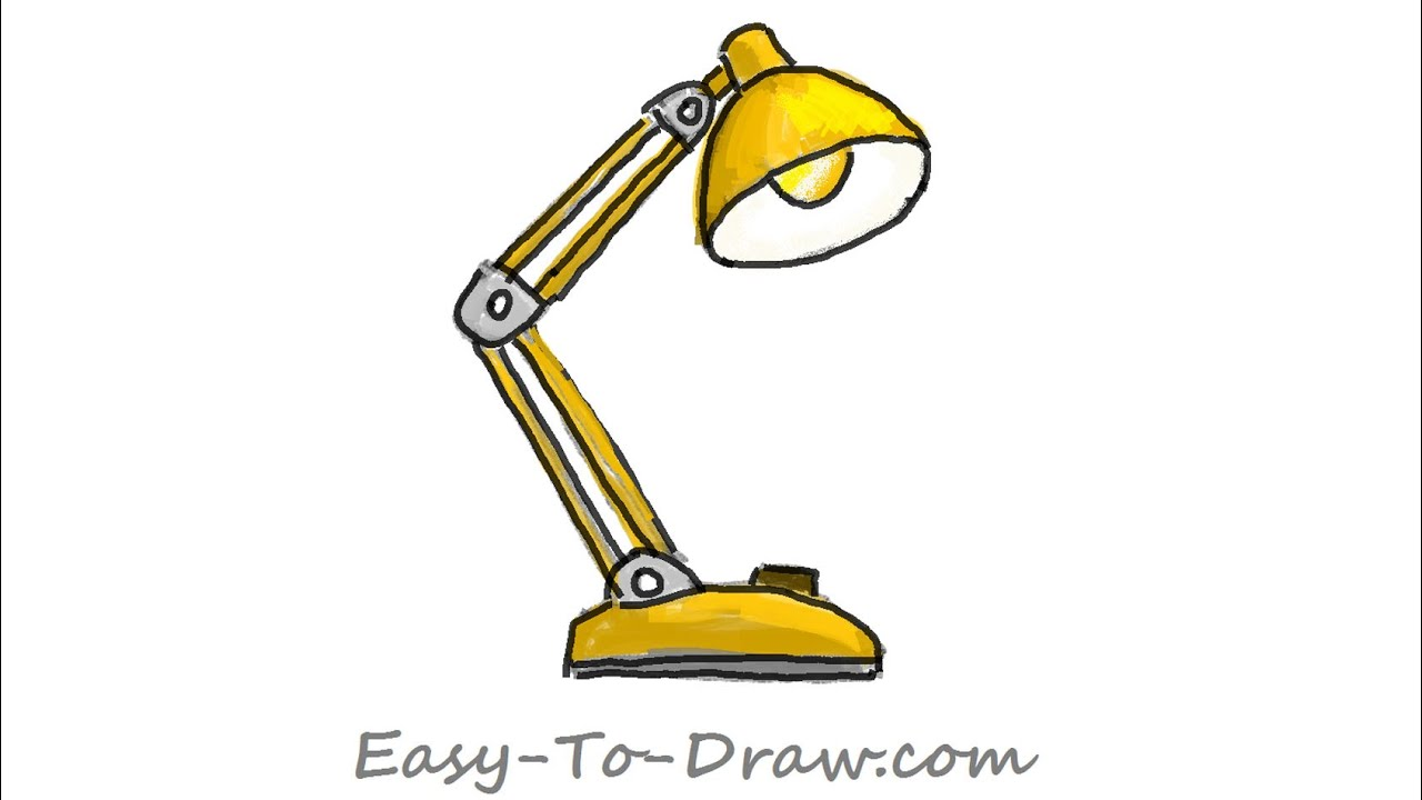desk lamp drawing. how to draw a cartoon folding desk lamp (balanced-arm lamp) - free \u0026 easy tutorial for kids drawing m