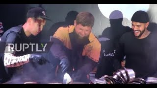 Kadyrov flips burgers with Russian rapper Timati at Grozny Black Star opening