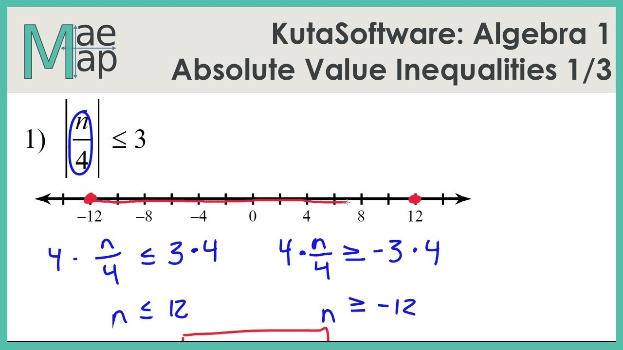Kutasoftware Algebra 1 Absolute Value Inequalities Part 1 Youtube