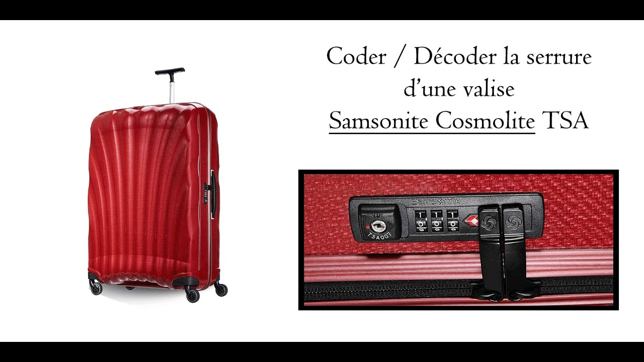 coder la serrure d 39 une valise samsonite cosmolite tsa youtube. Black Bedroom Furniture Sets. Home Design Ideas