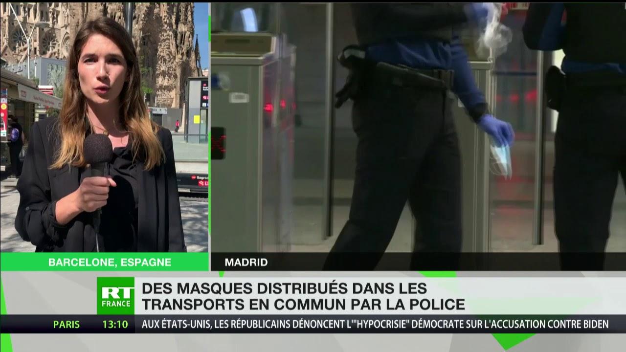 Espagne : des masques distribués dans les transports en commun par la police