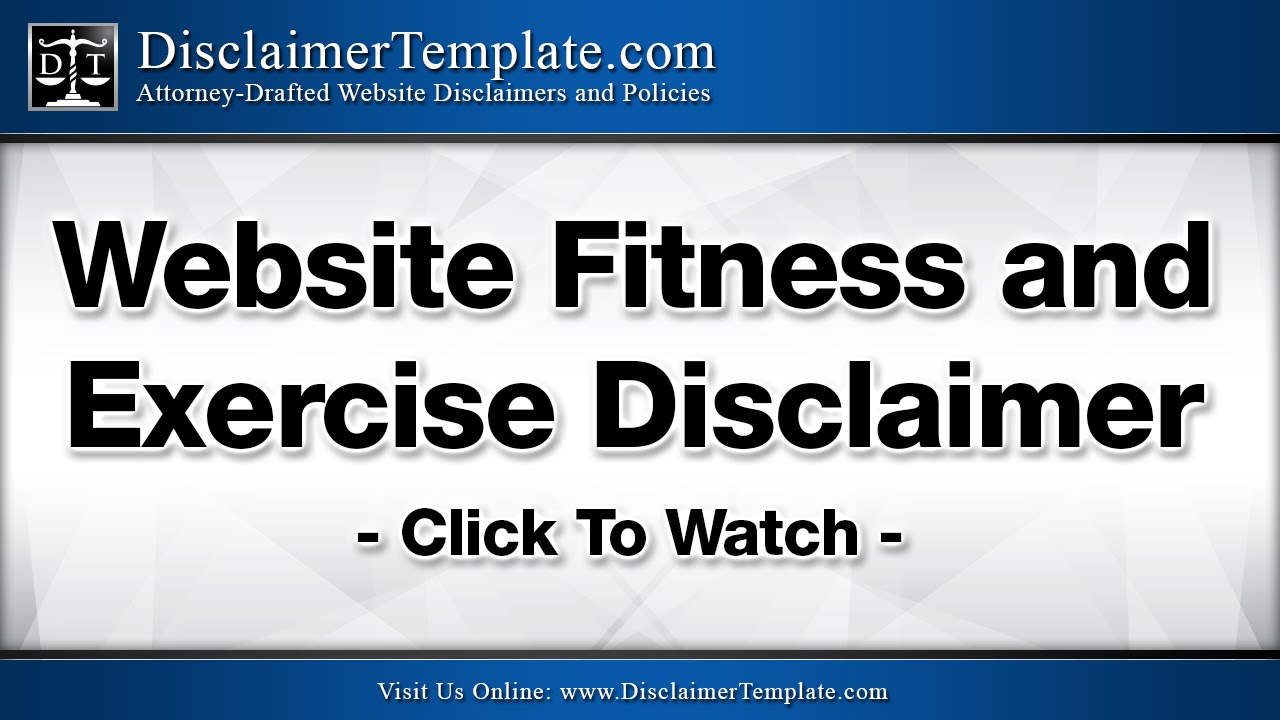 Website Fitness Disclaimer And Exercise
