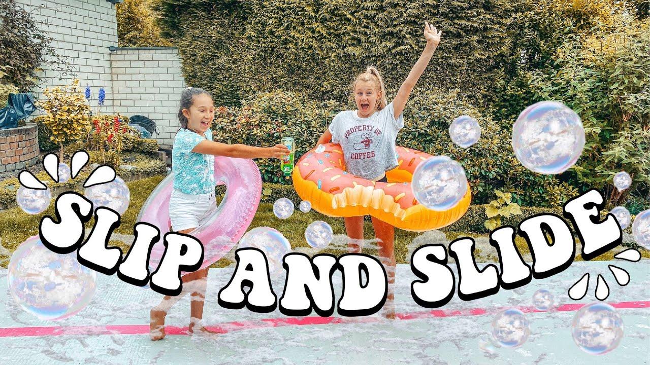 SLIP -N- SLIDE CHALLENGE AUF DER AIRTRACK *funny | MaVie Noelle Family