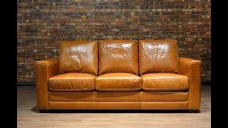 Distressed Leather Couch Bring Classy Look Into The Living Room