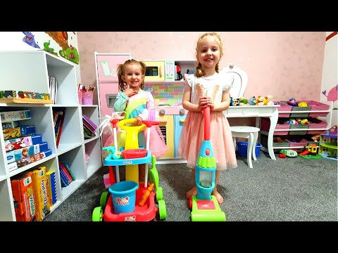 Emma And Maya Pretend Helping Mom Clean The House | Kids Cleaning Toys