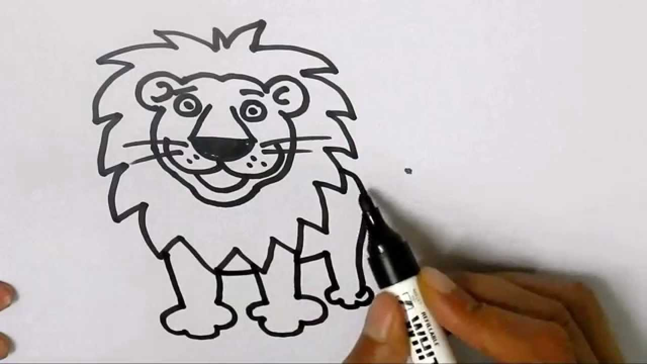 how to draw a lion in easy steps for children kids beginners step by step youtube [ 1280 x 720 Pixel ]