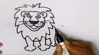 How to draw a Lion in easy steps for children, kids, beginners .Step by step.