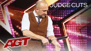 Mat Ricardo CHOPS INTO HIS OWN ARM?! This Will Shock You - America's Got Talent 2019