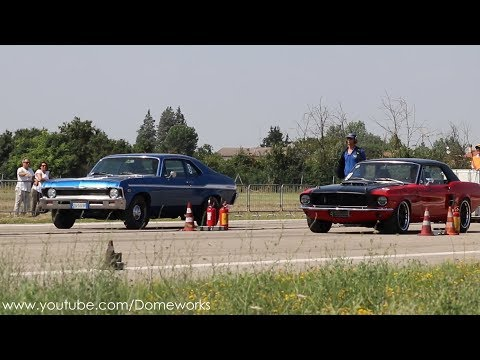 Chevrolet Nova VS Ford Mustang Drag Race Launches And Burnout