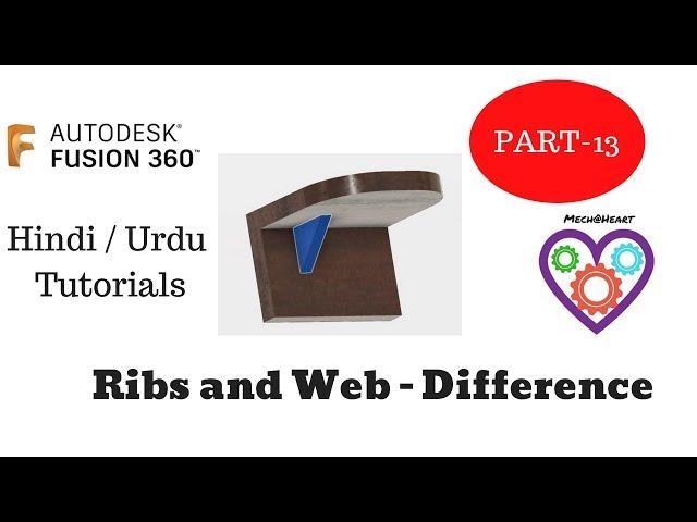 Ribs and Web in Autodesk Fusion 360 Hindi/Urdu Tutorials