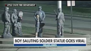 LOOK: Touching Photo Captures Young Boy Saluting Soldier's Statue at Wisconsin Memorial