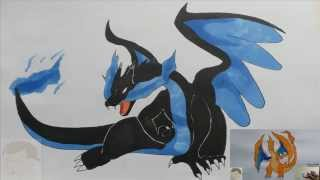 HOW TO DRAW MEGA CHARIZARD X POKEMON STEP BY STEP TUTORIAL FULL COLOR