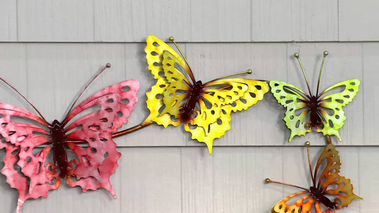 Plow & Hearth Watercolor Butterfly Wall Art on QVC - YouTube