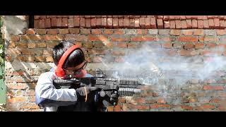 Homemade cardboard gun and firecracker (