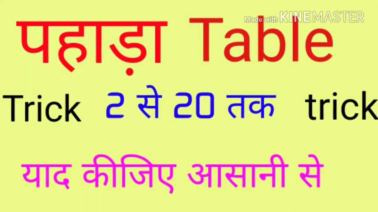 Worksheets 2 To 20 Table pahada table 2 to 20 trick youtube ta