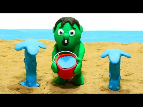 Hulk playing sand beach Cartoons Play Doh Stop Motion for kids