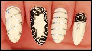 Monochrome Roses nail art