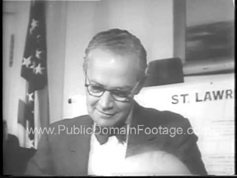 Dwight D. Eisenhower signs Saint Lawrence Seaway Bill 1954 newsreel archival stock footage