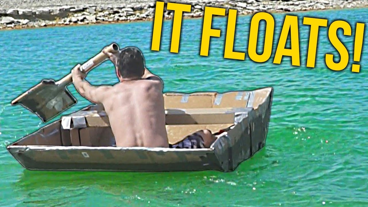 i made a boat out of cardboard and flex tape youtube
