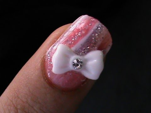How to do 3d bow nail art tutorial youtube how to do 3d bow nail art tutorial prinsesfo Images