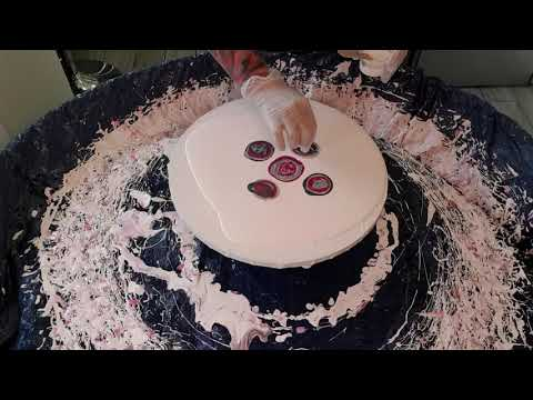 #18 Stunning Pink, Silver Bloom Technique Swirl And Spin | Pouring Technique