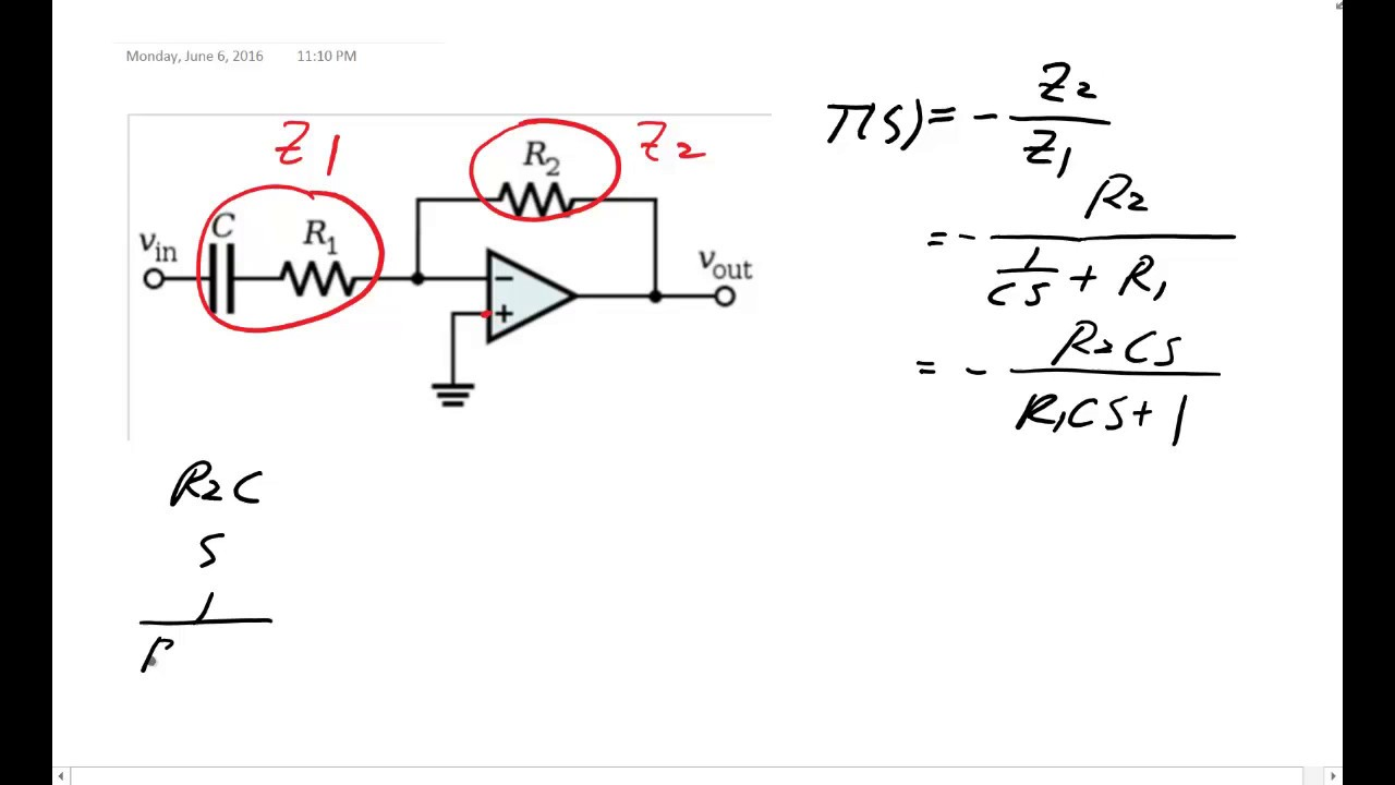 Me 340 Transfer Function And Bode Plot Of An Op Amp High Pass Low Filter Circuit Diagram