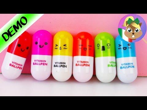 Vitamine KAWAII - Penne a sfera a forma di pilloline da regalare - Penne da viaggio