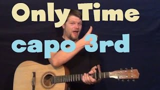 Only Time (Enya) Easy Guitar Lesson Strum Fingerstyle Tutorial Capo 3rd Fret