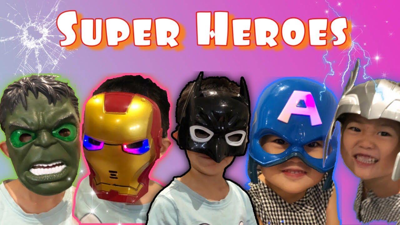 Superhero costume play! Avengers and batman. Video for Kids.