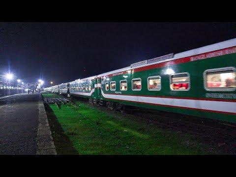 Sonar Bangla Express Train Leaving Akhaura Junction Railway Station at night towards Dhaka