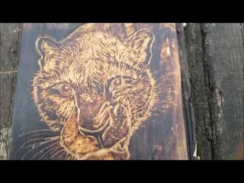 Резьба по дереву. Леопард из фанеры гравером .(готовое изделие)