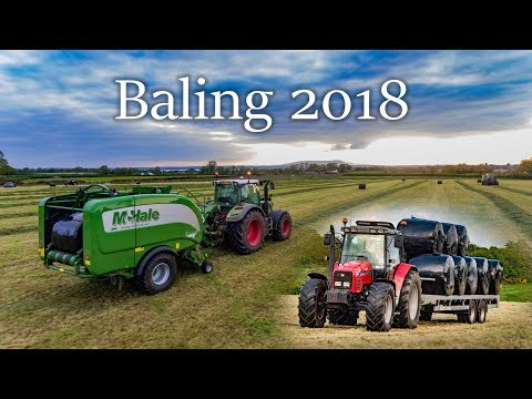 Baling 2018 - 2 Fendts baling with Mchale Fusion 3's and Masseys moving bales
