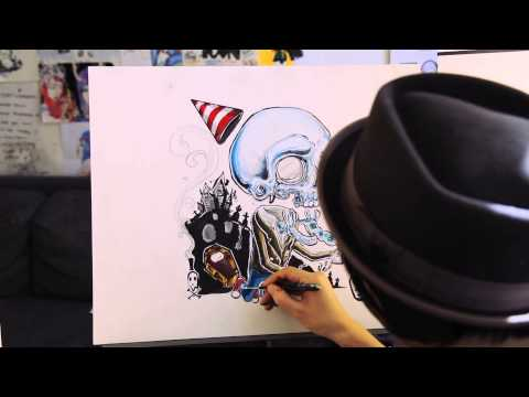 Re-Release Party in the Graveyard by Ghost Town Album Cover Art Speed Painting