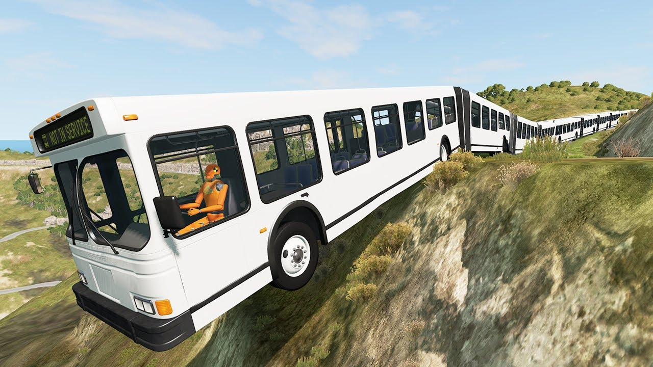 Long Articulated Bus Fails #3 - Beamng drive