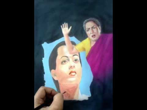 Cruel Mother In Law / Weeping Daughter In Law Painting Portrait Watercolor Techniques