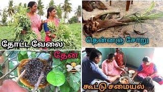 தோட்ட வேலைகளுடன் விருந்து சமையல் || தென்னை மரம் வெட்ட போறோம் 🙄 || 2 Kg Chicken Briyani/ Village Vlog